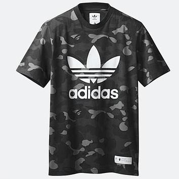 Adidas AAPE BAPE Summer Men Casual Print Sport Camouflage T-Shirt Top