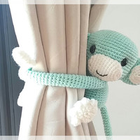 Monkey curtain tie back, cotton yarn crochet toy, amigurumi.