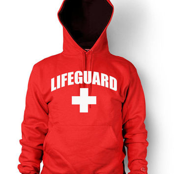 Lifeguard Hoodie Beach Patrol Pool Safety Guard Rescue Team Men's Hooded Sweatshirt