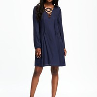 Lace-Up Neck Swing Dress for Women | Old Navy