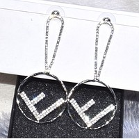 Fendi Fashion New Letter More Diamond Long Earring Women Accessories Silver