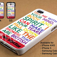 1D One Direction Quote Colour Design for iPhone 4/4s/5 Case, Samsung Galaxy S3/S4 Case