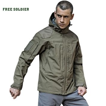 FREE SOLDIER outdoor tactical with warm lining jacket, wear-resistant, breathable, water-repellent camping hiking coats