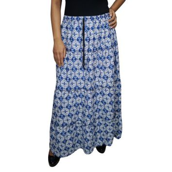 Mogul Womens Blue Maxi Skirt Printed Cotton Blend Boho Chic Indian Tiered Elastic Waist A-Line Long Skirts - Walmart.com