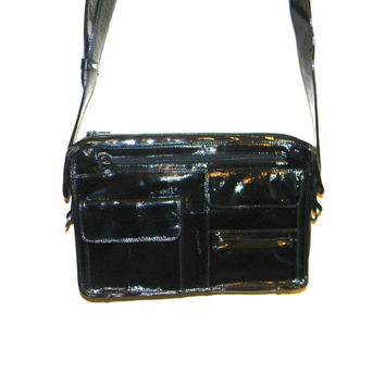 Vintage Enny leather Handbag, butter soft Patent leather in black #vintage #ennybag RARE DESIGN