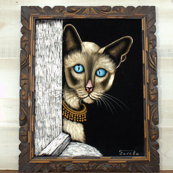 Large Velvet Painting, Paint by Number Siamese Cat Wall Hanging, Large Original Signed  Oil Painting
