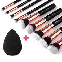 Rose Gold 10 Piece Professional Kabuki Contouring Makeup Brush Set with Taklon Synthetic Hair for Face, Cheeks and Eyes, Liquid Cream Powder Mineral Make Up, BONUS Complexion Beauty Sponge Blender