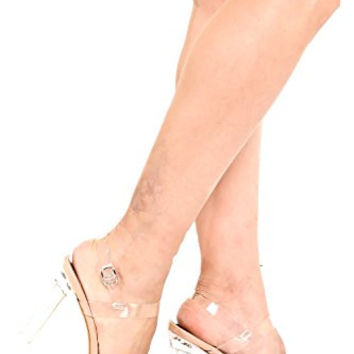 Lolli Couture SUEDE MULTI STRAP STUD ACCENTS LACE UP DESIGN POINTED TOE HIGH HEELS nude heel summer top
