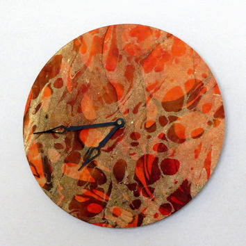 Unique Wall Clock, Autumn Colors, Gold and Orange, Decor and Housewares, Unique Gift Idea, Home and Living, Home Decor, Marble Clock
