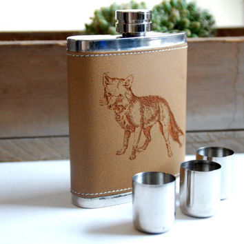 Laser Etched Leather Flask, FOX Design, Case W/ Stainless Steel Shot Glasses: Customizable for Groomsmen, Bridal Parties, Gifts