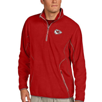 Kansas City Chiefs Antigua Quarter Zip Microfleece Pullover Jacket - Red