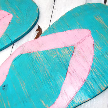 Huge FLIP FLOPS Beach house Decoration, Wedding Decor SUPERSIZED sign Large wood wall art - beach wedding sign, teenager bedroom, sandals