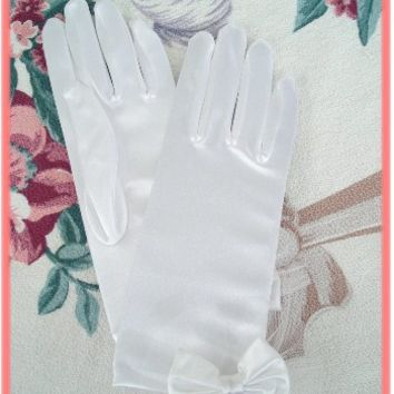 White Satin Short Gloves with Bow and Tulle Accents-Wrist Length Formal Gloves