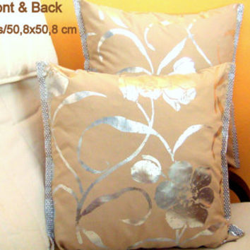 Silver floral painted 20x20 pillow cover Wedding silver trim