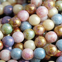 Czech Beads 4mm Fire Polished Glass Round in Opaque Multi-Color luster- 100 Pieces
