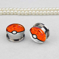 Pairs  pokeball    ear plugs, Stainless Steel Flesh Tunnel Ear Plugs, Screw Body Piercing Jewelry, Ear Expander,women ear plugs