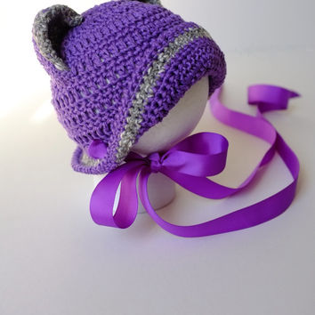 Baby Girl Hat with Ears and Bow Crochet Cotton Bonnet for Infant Girl Newborn Photography Props Baby Shower Gift Idea Purple Hats Cute Hats