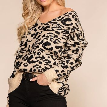 Wild Side Leopard Twist Back Knit Sweater