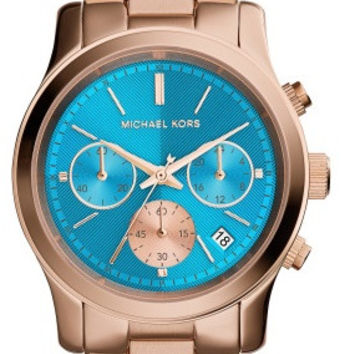 Michael Kors Jetset Women's Teal Dial Rose Gold Tone Watch MK6164