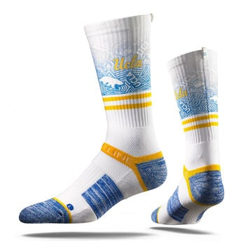 Strideline® 2.0 Blue Bruin Detail, UCLA Bruins White–Gold–Blue Crew Socks