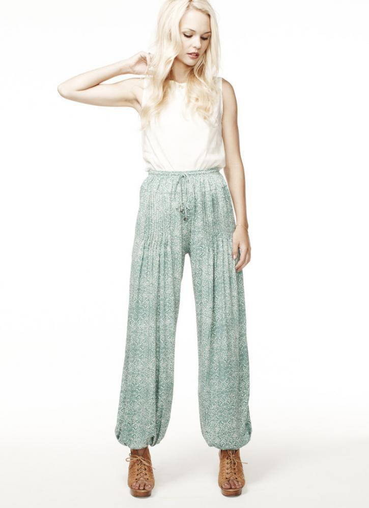 Teal Block Print Pleated Pants with Elastic Ankles&Waistband