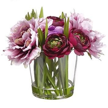 """Fake Flowers Purple Ranunculus and Peony in Glass Vase - 9.5"""" Tall"""