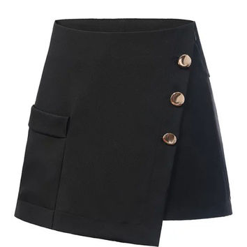 Black Button Pocket Detail High Waist Asymmetric Skorts
