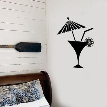 Vinyl Decal Bar Cocktail Umbrella Martini Drink Beach Bar Alcohol Mojito Pop Art Cool Decor For a Bar (z2633)