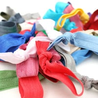 15 Elastic Hair Bands - FOE Hair Ties - Grab Bag of Hair Elastics - You Choose Colors - No Pull Ponytails That Are Gentle on Your Hair