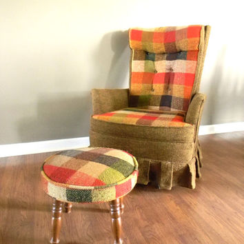 SALE Vintage Kroehler Chair Stool Citation Swivel Plaid Lounge