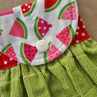 Watermelon Quilted Hanging Kitchen Towel, Hanging Dish Towel, Quilted Dish Towel, Personalized Towel, Custom Kitchen Towel