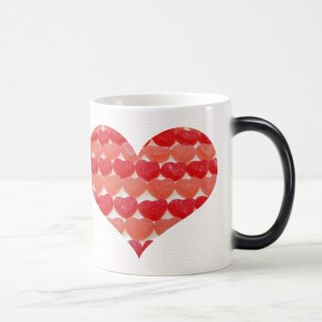 Candy Hearts In A Row, Heart Shaped Magic Mug