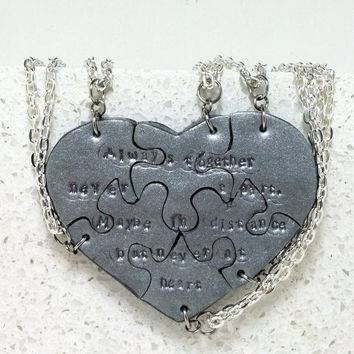 Heart Necklaces set of 6 Always Together Never Apart Polymer Clay Made To Order