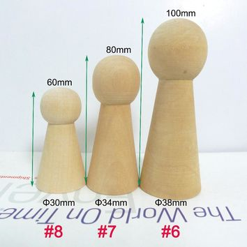 15pcs Unfinished DIY Solid Wooden Peg Doll Family Supplies