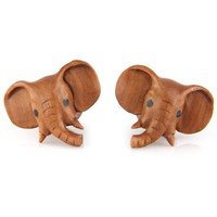 "Evolatree - Elephant - Wood - 12mm - 1/2"" Gauge Earrings - Plugs"