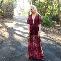 Wine & Dine Embroidered Maxi Dress in Merlot