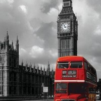 London-Red Bus-Big Ben, Photography Poster Print, 24 by 36-Inch