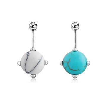 Fashion Turquoise Nail Navel Button Bar Ring Silver Plated Piercing Belly Dance Jewelry = 1652938372