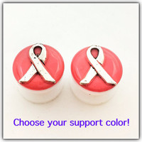 Support ribbon plugs / 00g, 1/2, 9/16, 5/8 inch / support ribbon gauges / awareness jewelry / breast cancer / sucide / autism / bullying