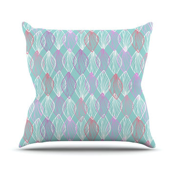 "Julia Grifol ""My White Leaves"" Pink Aqua Outdoor Throw Pillow"