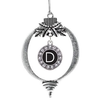 My Initials - Letter D Circle Charm Holiday Ornament