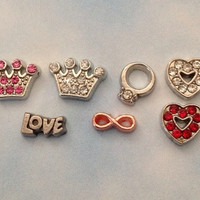 Floating charms for living memory locket pink and clear crystal crown, wedding ring, red and clear crystal heart, LOVE, rose gold infinity