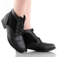 Libby-09 Knitted Combat Ankle Boots