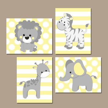 Baby Girl Nursery Wall Art, Yellow Gray Nursery Decor, Elephant Giraffe Zebra Lion, Safari Animals Decor Pictures, Canvas or Print Set of 4