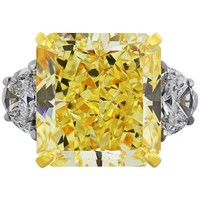 20.24 Carat Fancy Intense Diamond GIA Certified Three-Stone Engagement Ring