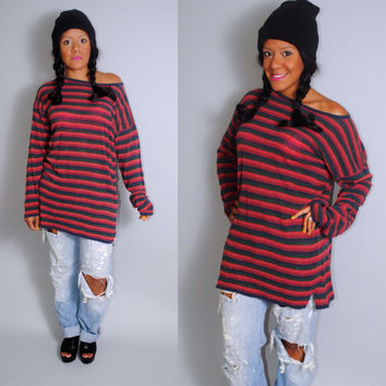 Vintage 1990 EXPRESS brand GRUNGE oversized striped long sleeve shirt blouse tunic dress