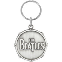 Beatles All Metal Drum Logo Metal Key Chain Silver