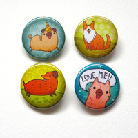 dog lover pin back button pack : 1.25inch buttons