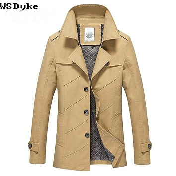 Autumn Casual Cotton Turn Down Collar Trench Coat Long