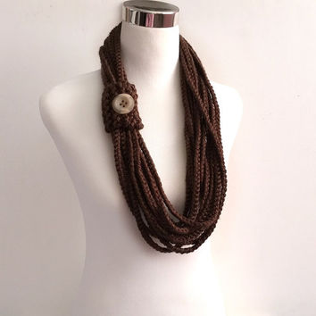chocolate brown hand crochet chain Infinity scarf - gift or for you